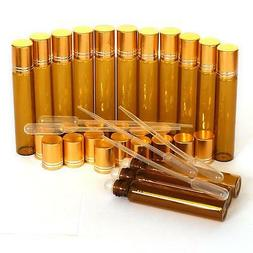 PCS Amber 1/3 oz, 10 ml Glass Roll On Bottles With Gold Cap