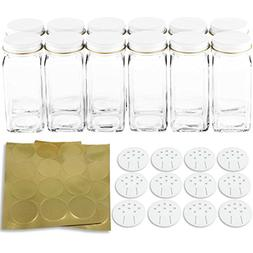 12 Square Glass Spice Bottles 4 oz Spice Jars with White Met