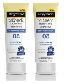 2 PACK- Neutrogena Sheer Zinc Dry-Touch SPF 50 Sunscreen ~ 3