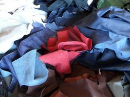 2 Pound Uph Leather Scrap 2-3oz Mixed Colors Crafts
