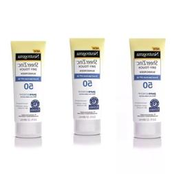 3 Packs Neutrogena Sheer Zinc 3 oz  Dry-Touch Sunscreen SPF
