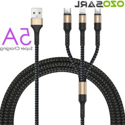 5A USB Cable <font><b>3</b></font> in 1 Fast Charging Fabric