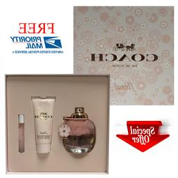 Coach Floral for Women 3 Pc Gift Set: 3oz EDP Spray + 3.3oz
