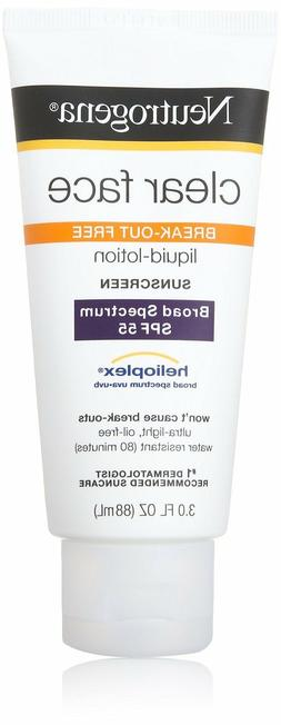 Neutrogena Clear Face 55 Sunscreen 3oz - Lotion SPF 55 UVB B