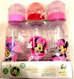 Disney Baby 3-pack 9oz Bottle Set Pink Minnie Mouse BPA Free