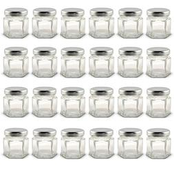 1.5 oz Hexagon Mini Glass Jars with Silver Lids and Labels P