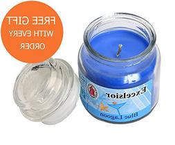 Jar Candle Blue Lagoon Scented 3 Oz Excelsior - Free Gift &