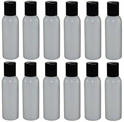 2-oz Refillable Bottle with Disc Cap 12 Pack, Black