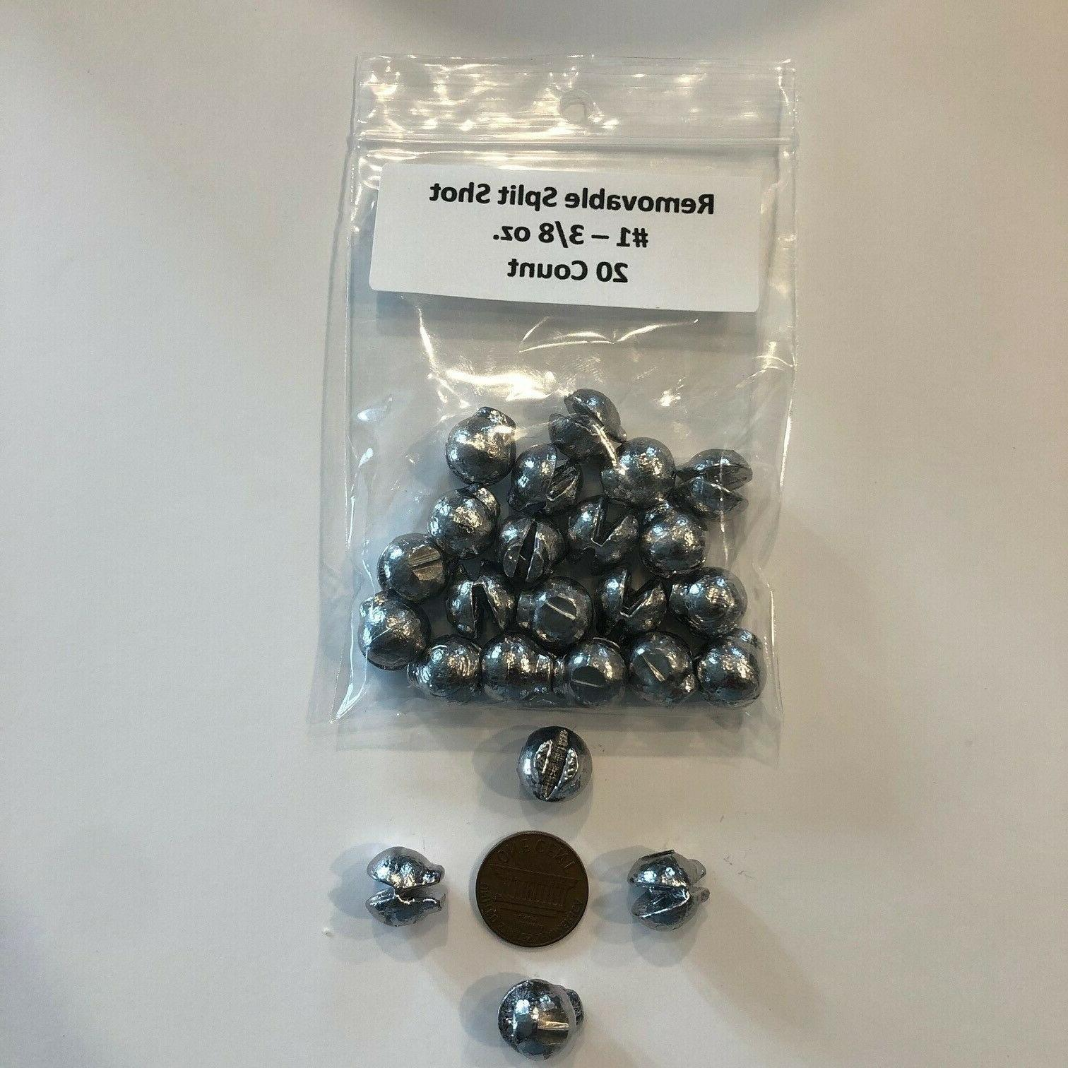 20 count removable lead split shot sinkers