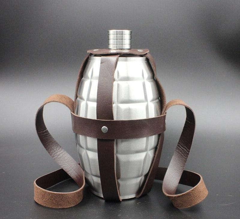 64 <font><b>oz</b></font> mines <font><b>3</b></font> pounds loaded flagon Stainless steel kettle holster Free