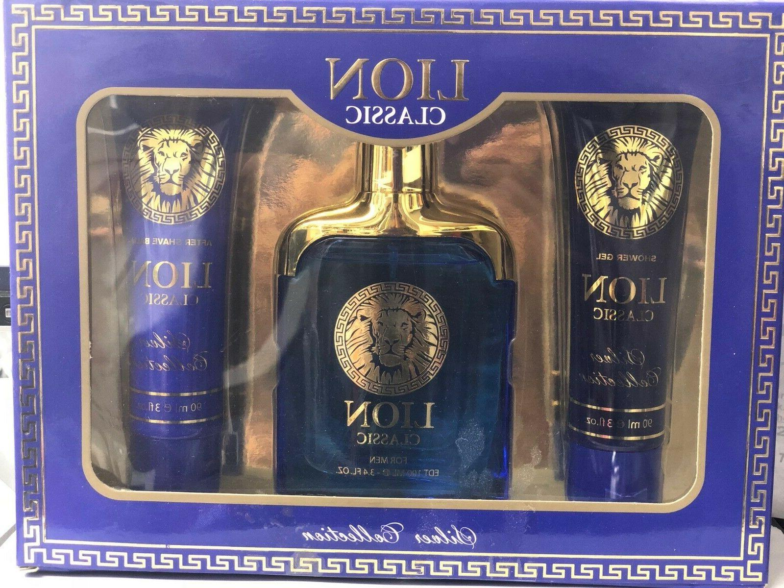LION PLATINUM FOR MEN 3 PC SET 3.4OZ SPRAY +3OZ AFTER SHAVE