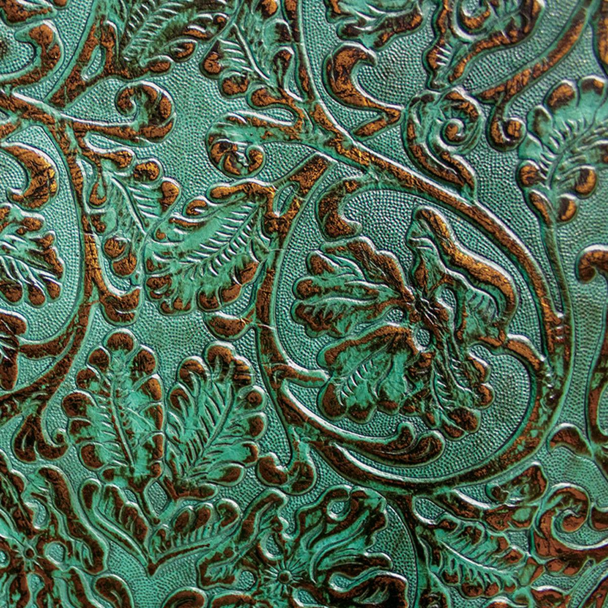 Turquoise & Copper 2/3oz Floral Embossed Cowhide Leather 12""