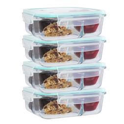 Large 49 Oz Glass Meal Prep Containers 3 Divider Compartment