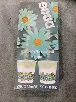 Vintage Dixie Cup Bathroom Refill Cups Green Floral Design -